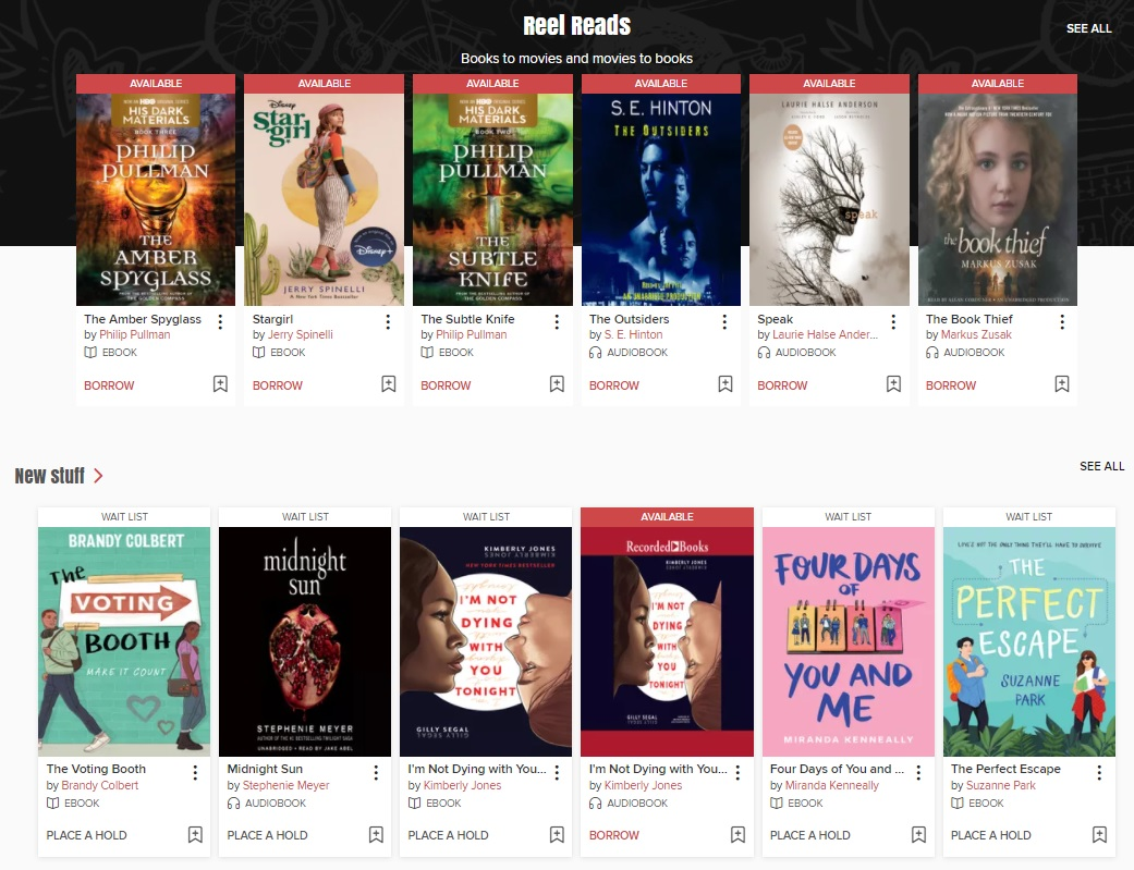 E-book covers are displayed on a website