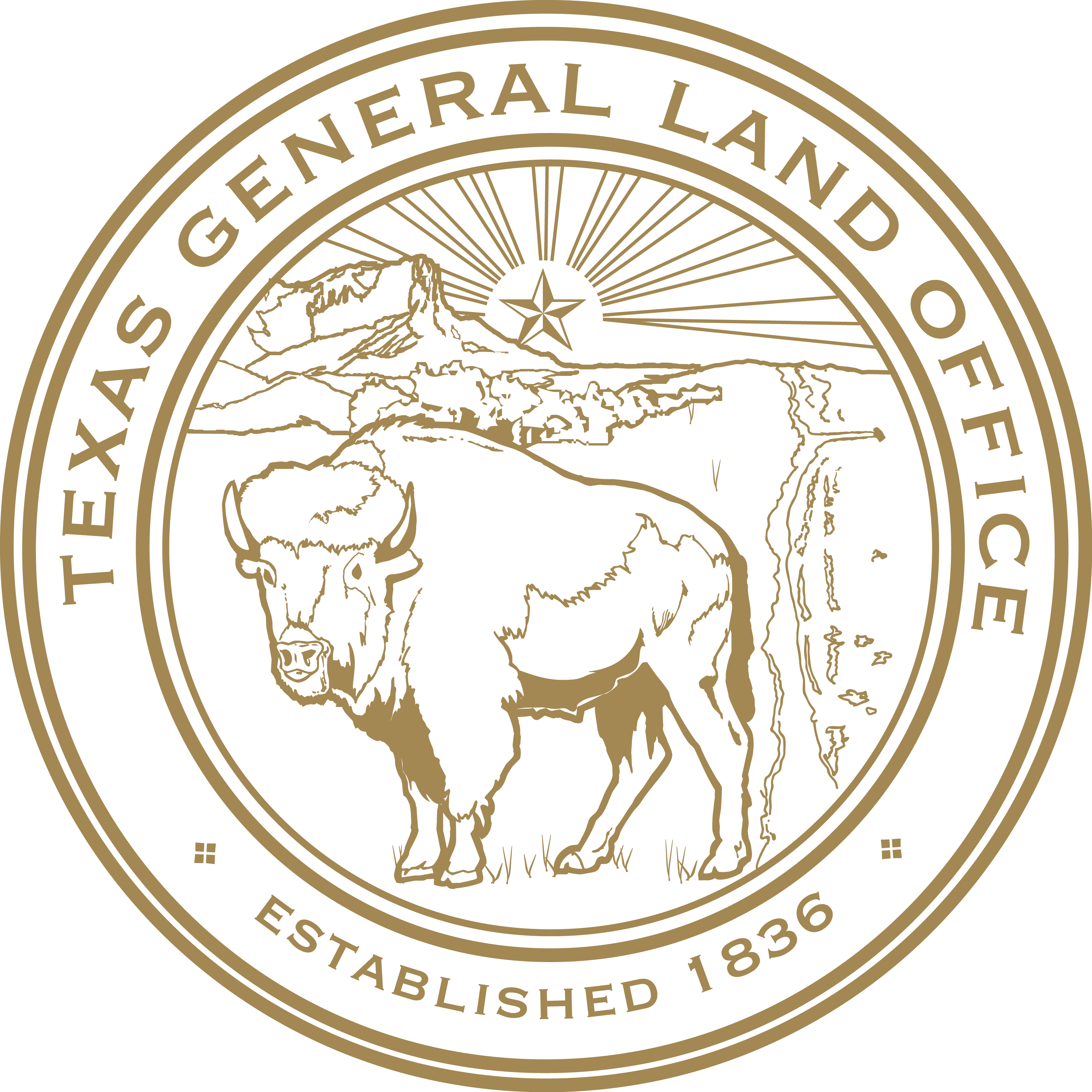 Texas General Land Office seal featuring a buffalo and a star rising over a cliff.