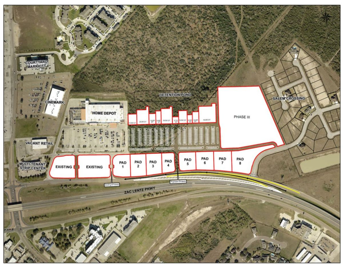 Map shows the site plan for a shopping center near home depot. 10 retail spaces with room for expansion.