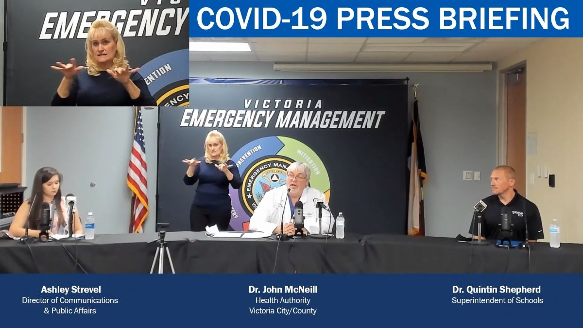 Ashley Strevel, Dr. John McNeill and Dr. Quintin Shepherd at press briefing