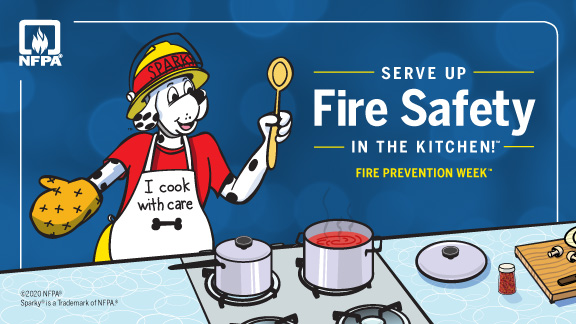 """Dalmatian in firefighter hat at stove. Text reads, """"Serve up fire safety in the kitchen! Fire prevention week."""""""