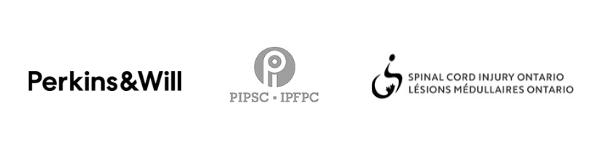 Logos of Perkins&Will, PIPSC, and Spinal Cord Injury Ontario.