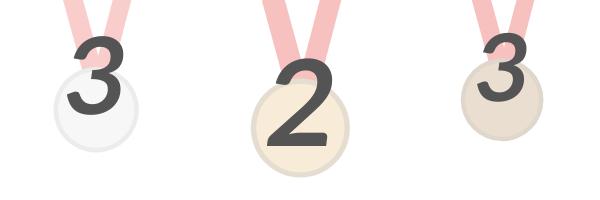 3 bronze, 3 silver, 2 gold