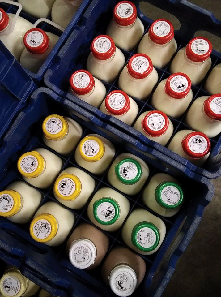 Crates of Strafford Organic Milk on delivery.