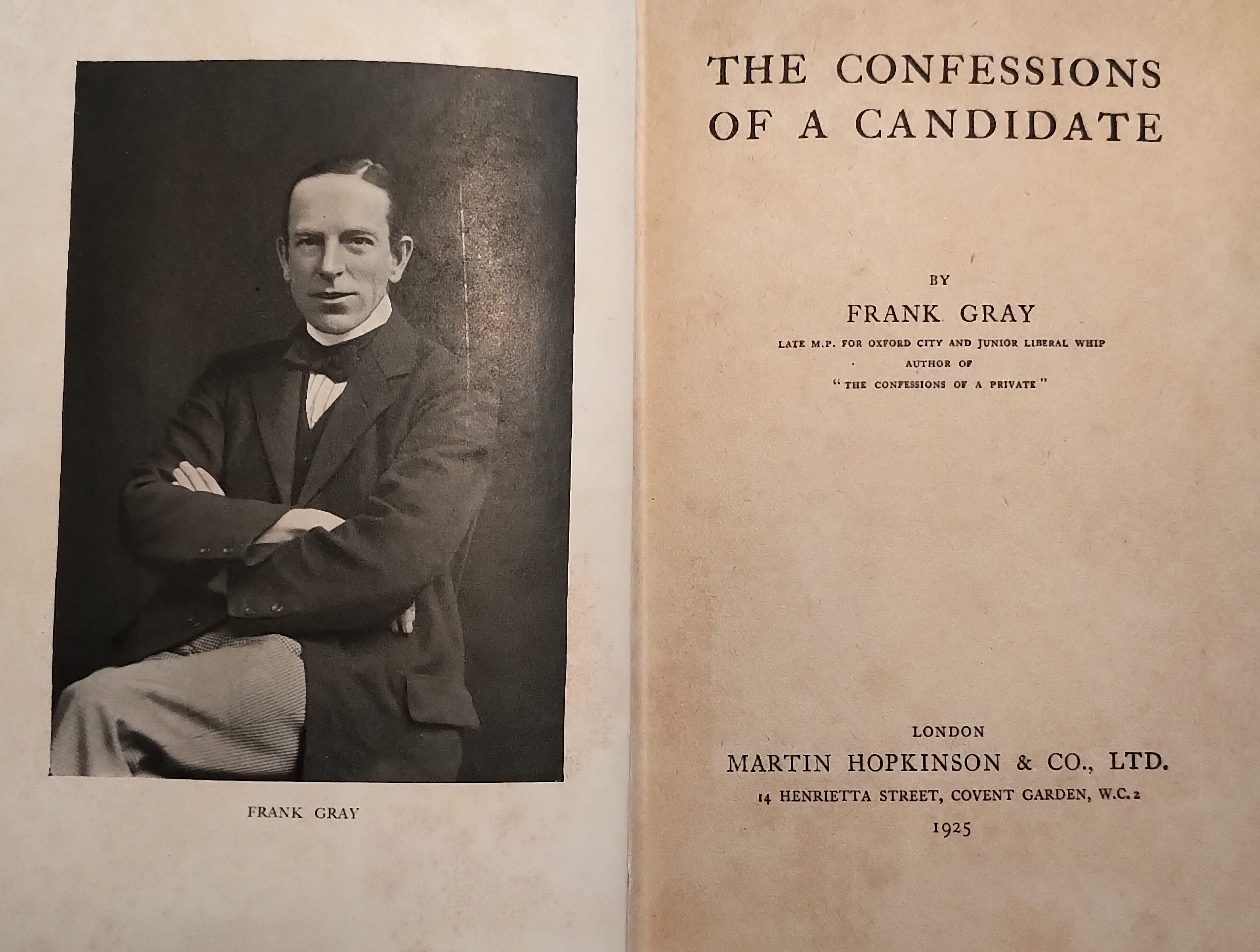 Frank Gray - The Confessions of a Candidate - cover pages
