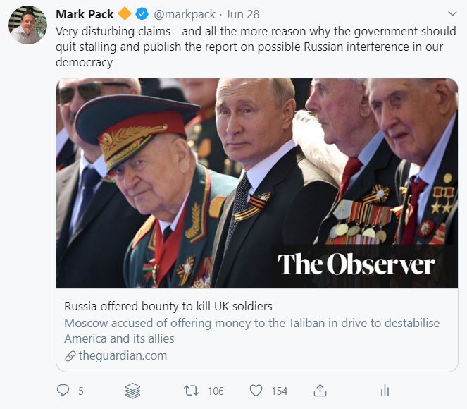 Mark Pack tweet on story about Russian bounty for killing soldiers