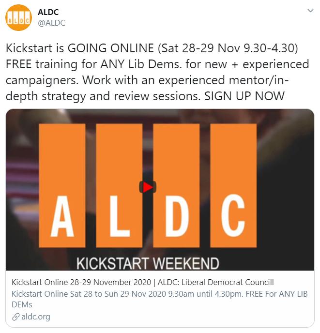 ALDC tweet about Kickstart training weekend