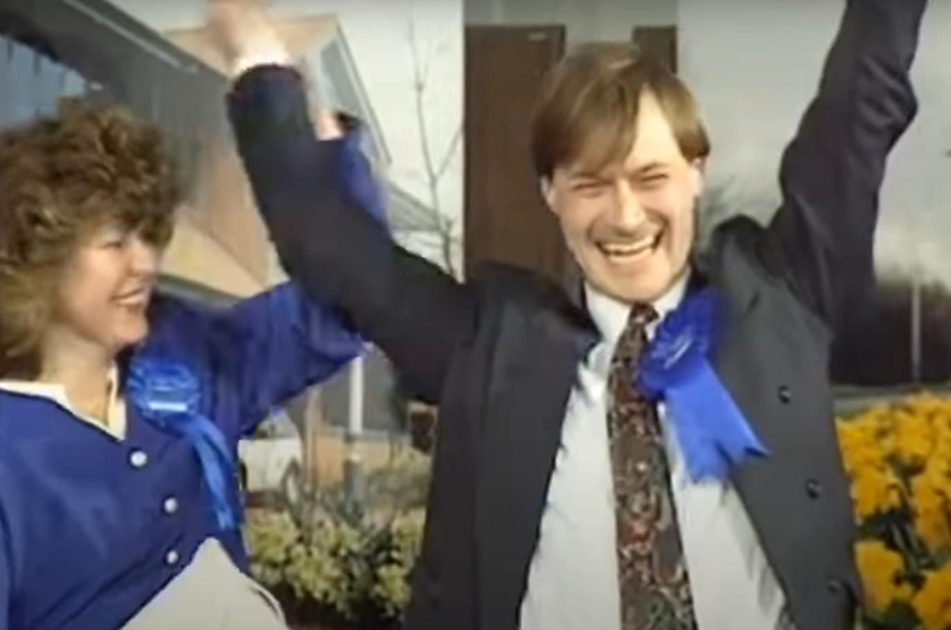 David Amess smiling at his 1992 re-election