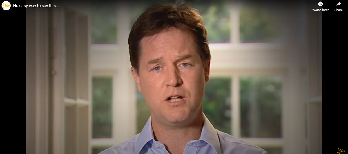Nick Clegg speaking to camera and apolosing for tuition fees