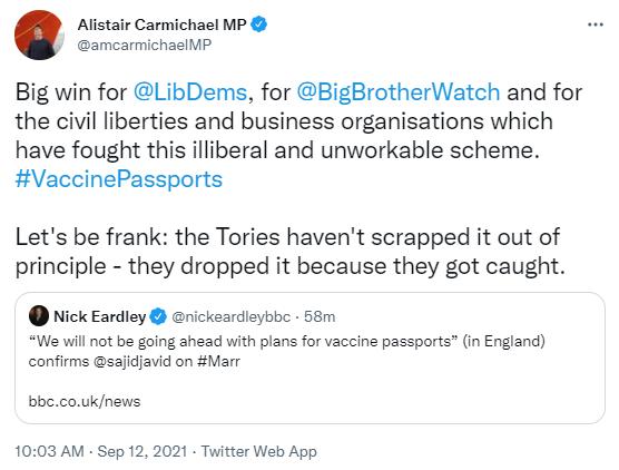 Alistair Carmichael tweet on vaccine passports
