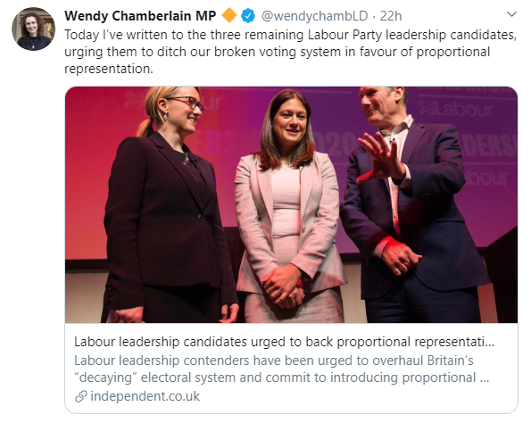 Wendy Chamberlain tweet urging Labour to back electoral reform