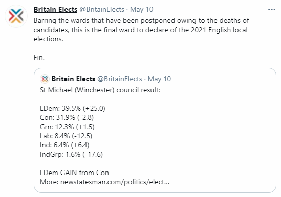 Tweet with a Lib Dem gain from Conservatives in Winchester