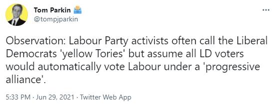 Tom Parkin tweet on Labour attitudes to Lib Dems
