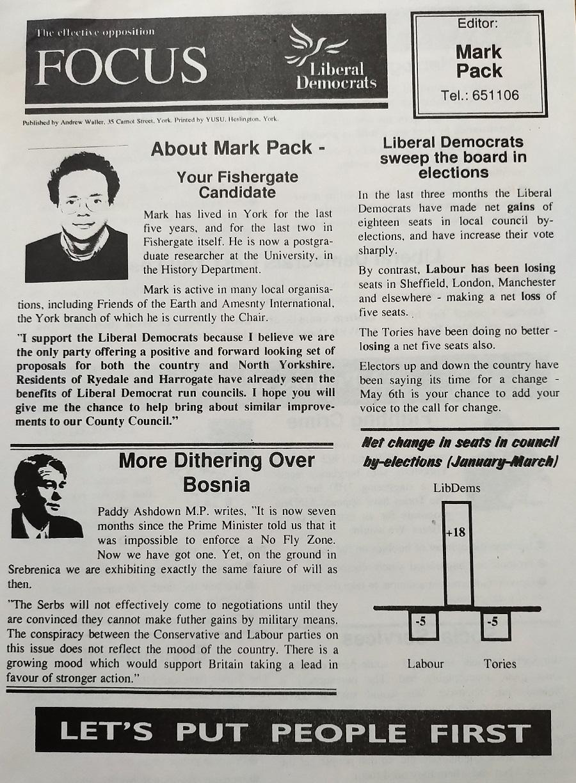 Mark Pack 1993 election Focus leaflet - front