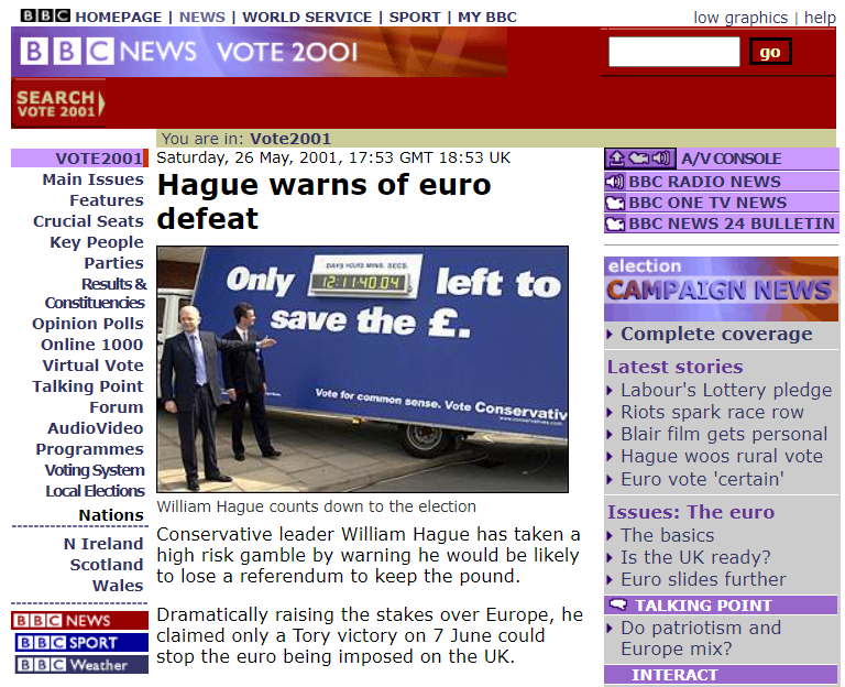 BBC news story from the 2001 general election