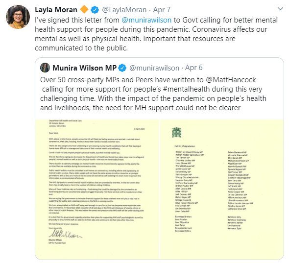 Layla Moran tweet about mental health support during the coronavirus pandemic