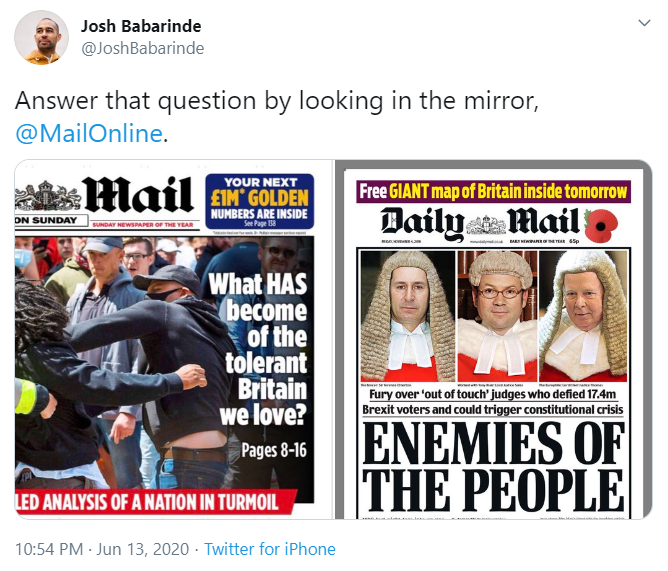 Josh Babarinde tweet about the Mail on Sunday