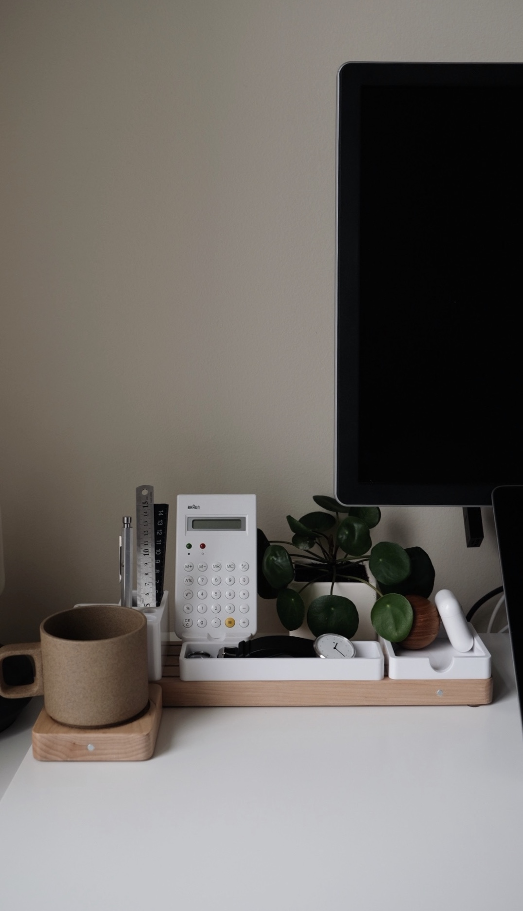 clean desk setup with accessories