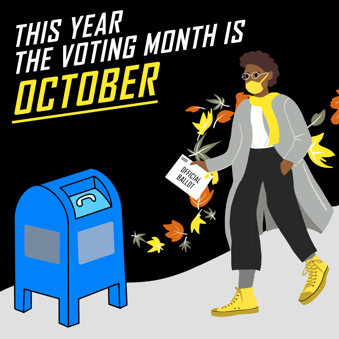 Illustration shows person walking with their voter ballot to a usps box