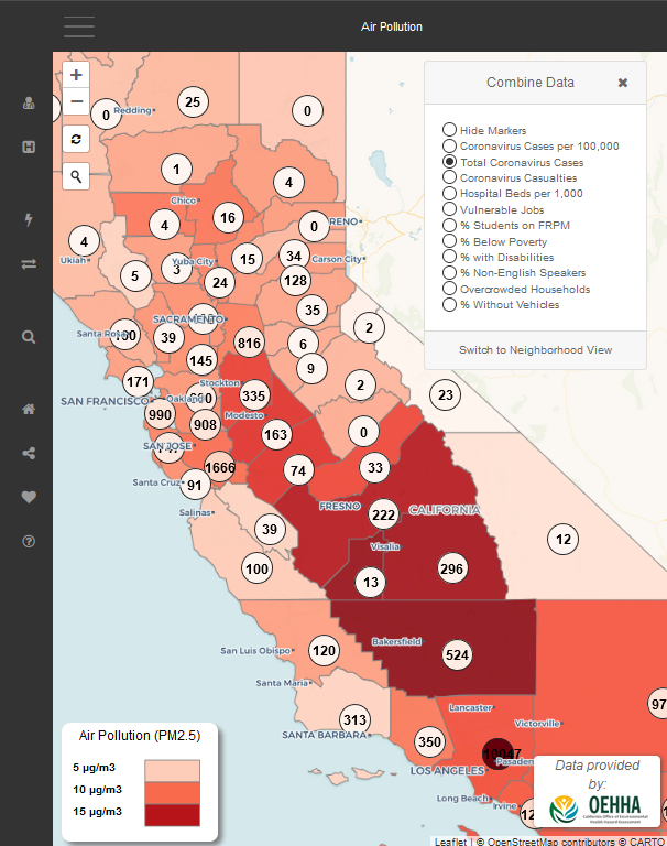 Image grab of our interactive map show cases in california