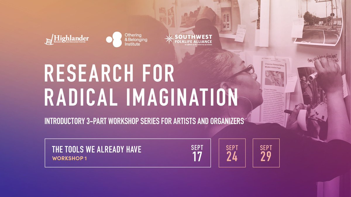 """Promotional image for """"Research for Radical Imagination"""" workshop series. Details for the first workshop on September 17 is displayed prominently."""