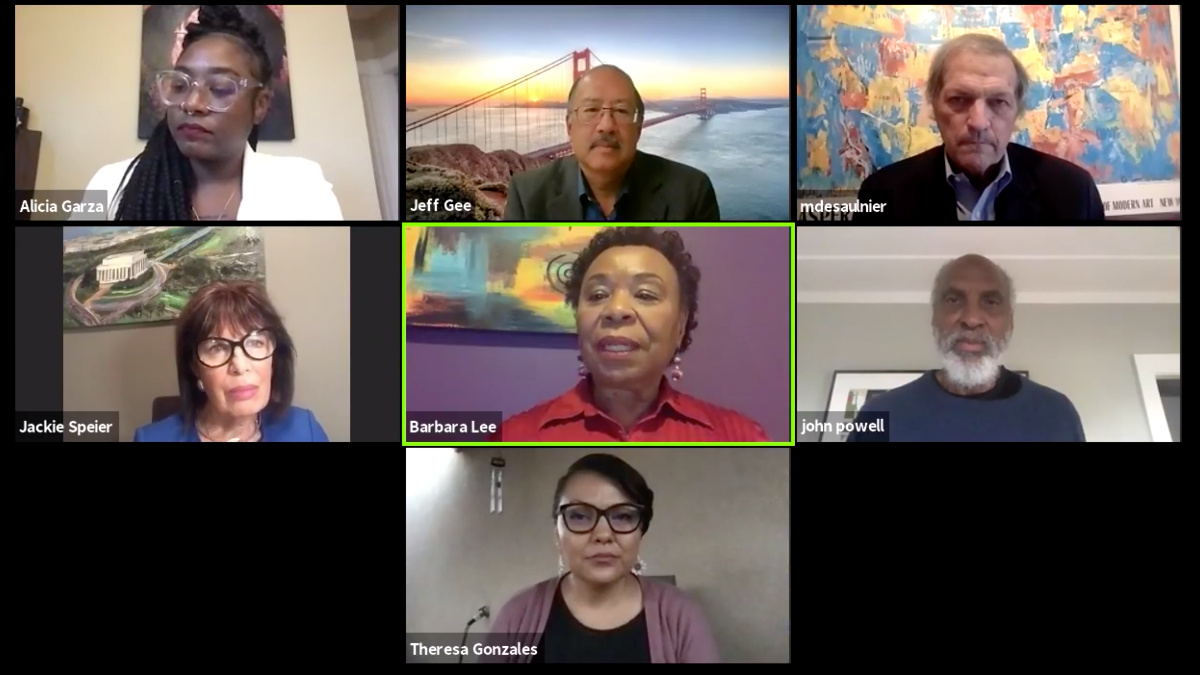 Screenshot of virtual town hall featuring the seven panelists (from left to right): Alicia Garza, Jeff Gee, Mark DeSaulnier, Jackie Speier, Barbara Lee, john powell, and Theresa Gonzales.