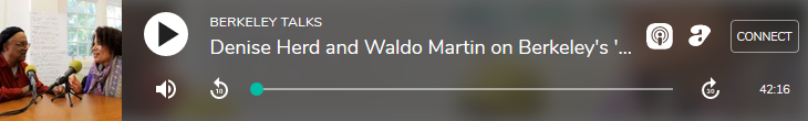 an image of an audio player with a thumbnail of Denise herd and Waldo Martin