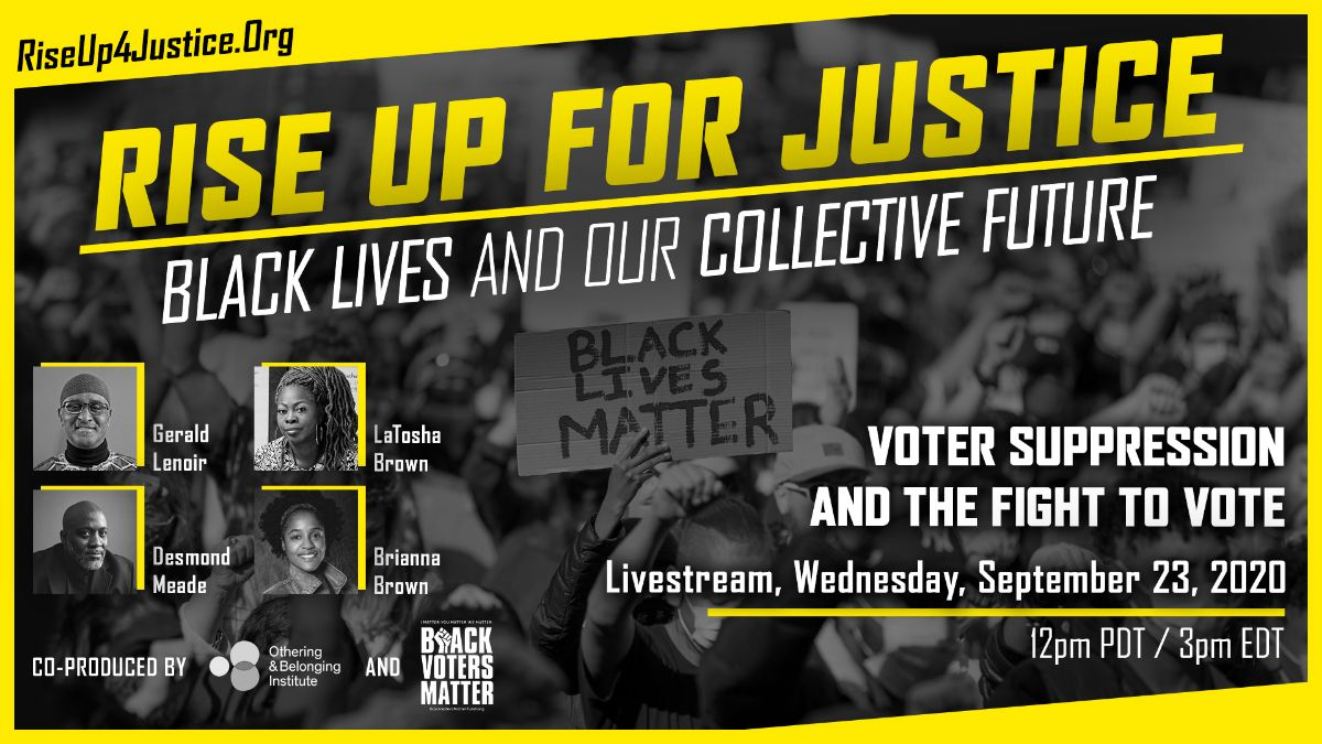 Promo card for the Sept 23 Rise Up for Justice event