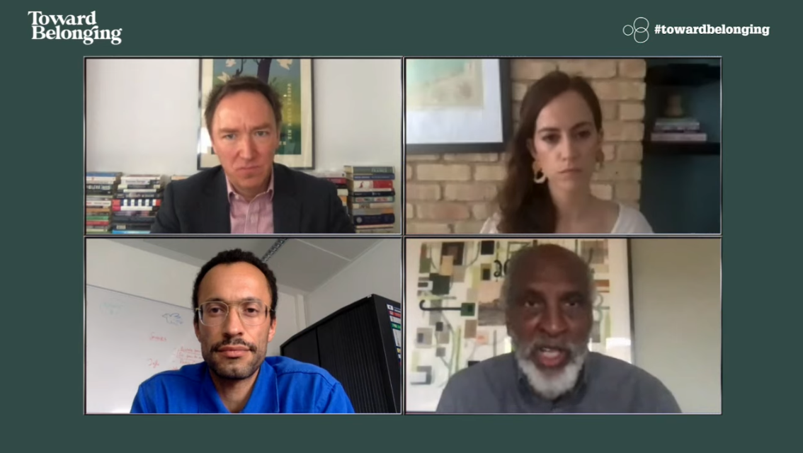 Image grabe shows the four speakers at this online event on covid-19