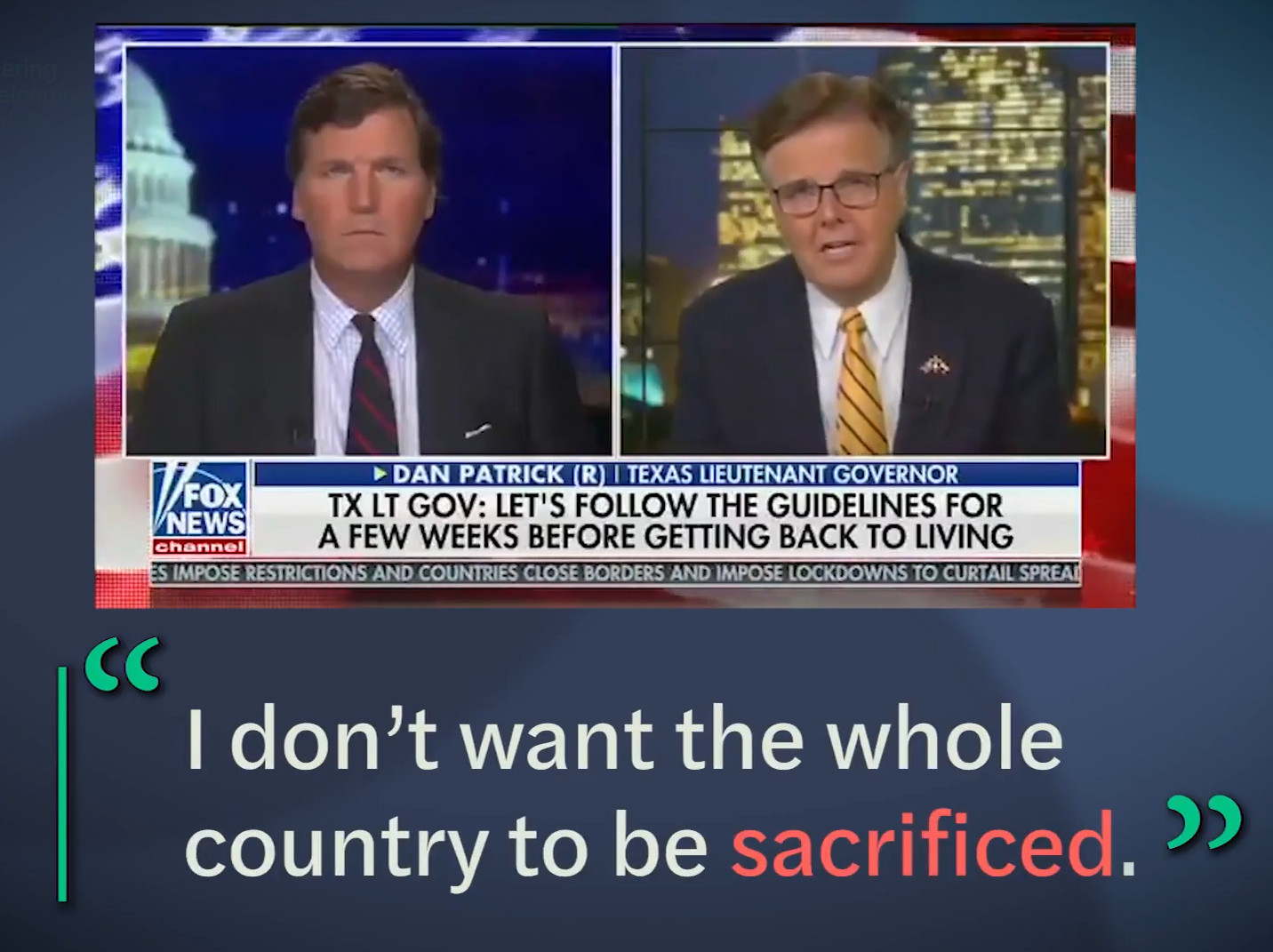 image grab showing tucker carlson and some guy in a split screen