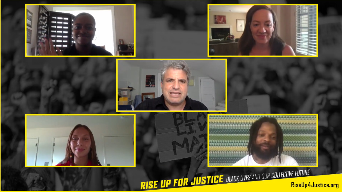 Image grab from the RiseUp video shows five people on screen in separate locations