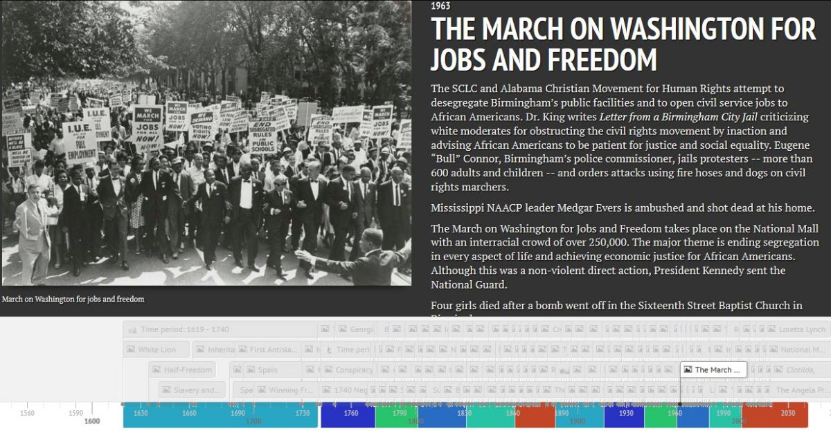 An image grab from a slide of the African American history timeline
