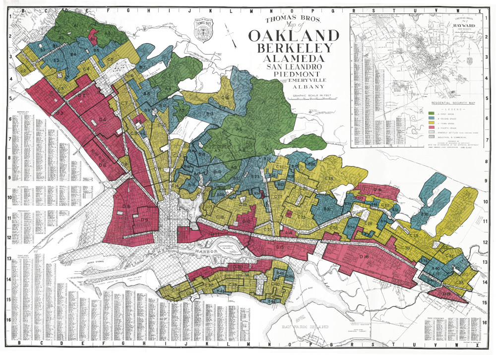 Map shows redlined east Bay cities in the 1930s