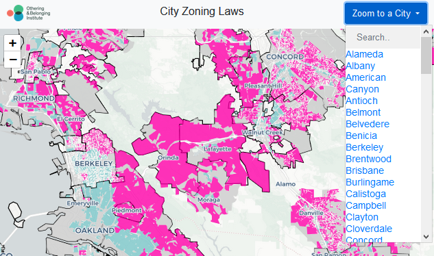 screenshot of an interactive map of the bay area showing zoning ordinances