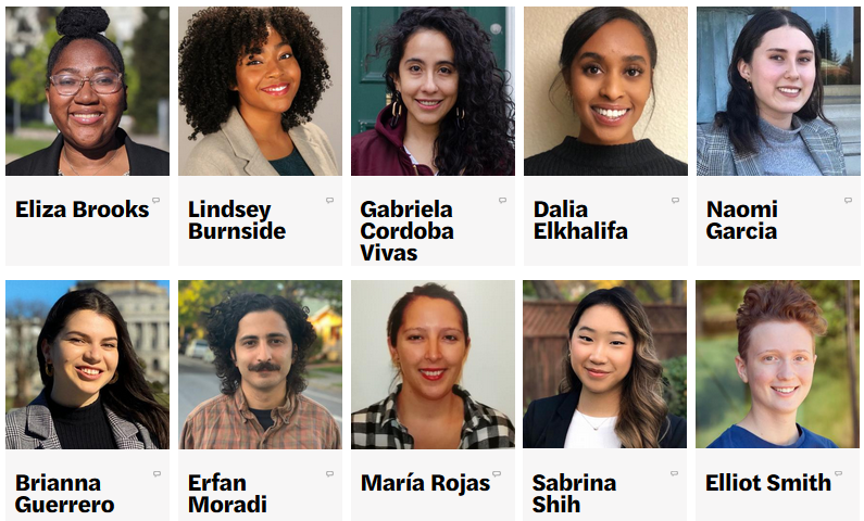 Headshots of the 10 summer fellows for 2020