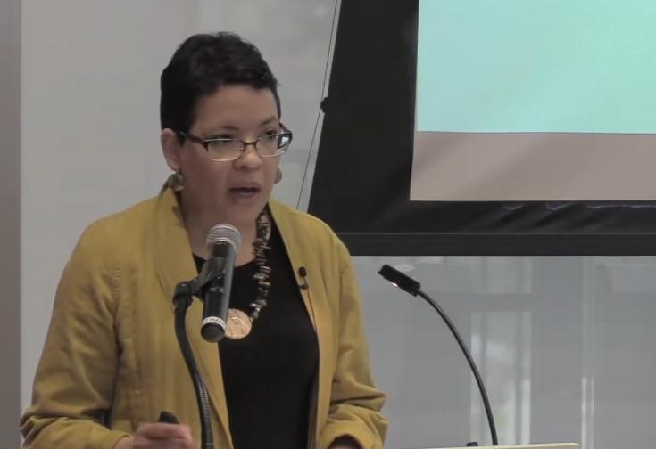 Prof. Elise C. Boddie presents her research on school segregation.