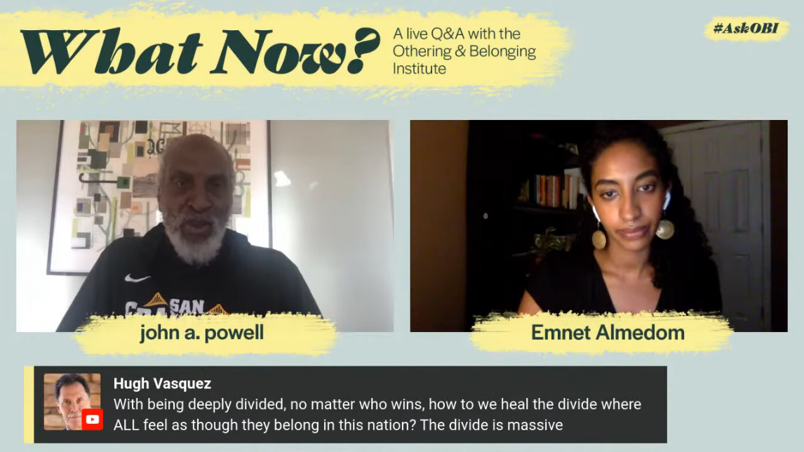 image grab from a live stream Q&A with john a powell