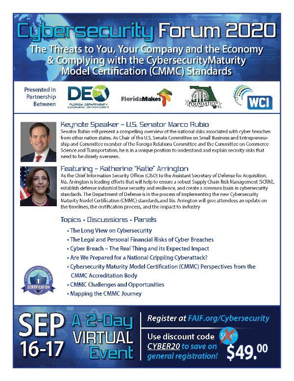 Cybersecurity Forum 2020 Flyer