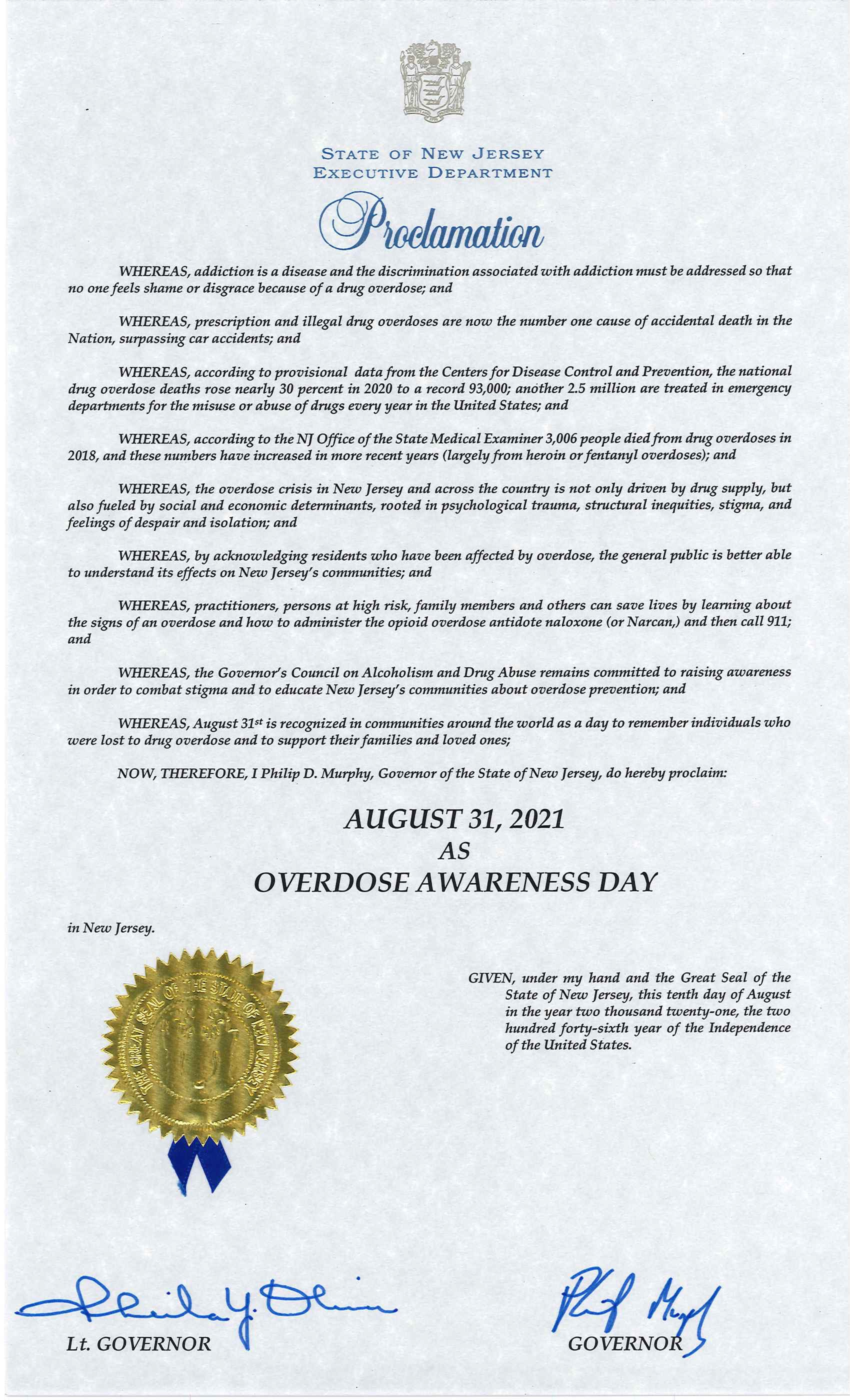A proclamation from Governor Murphy declaring August 31 as Overdose Awareness Day in New Jersey.