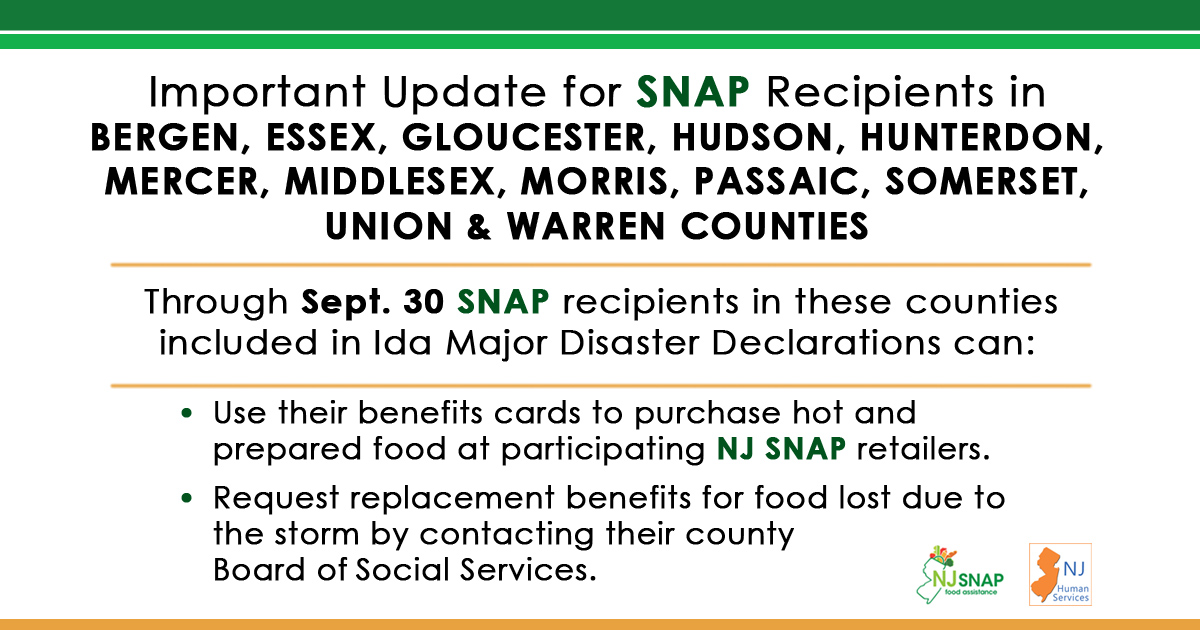 A graphic announcing food assistance benefits after Ida.