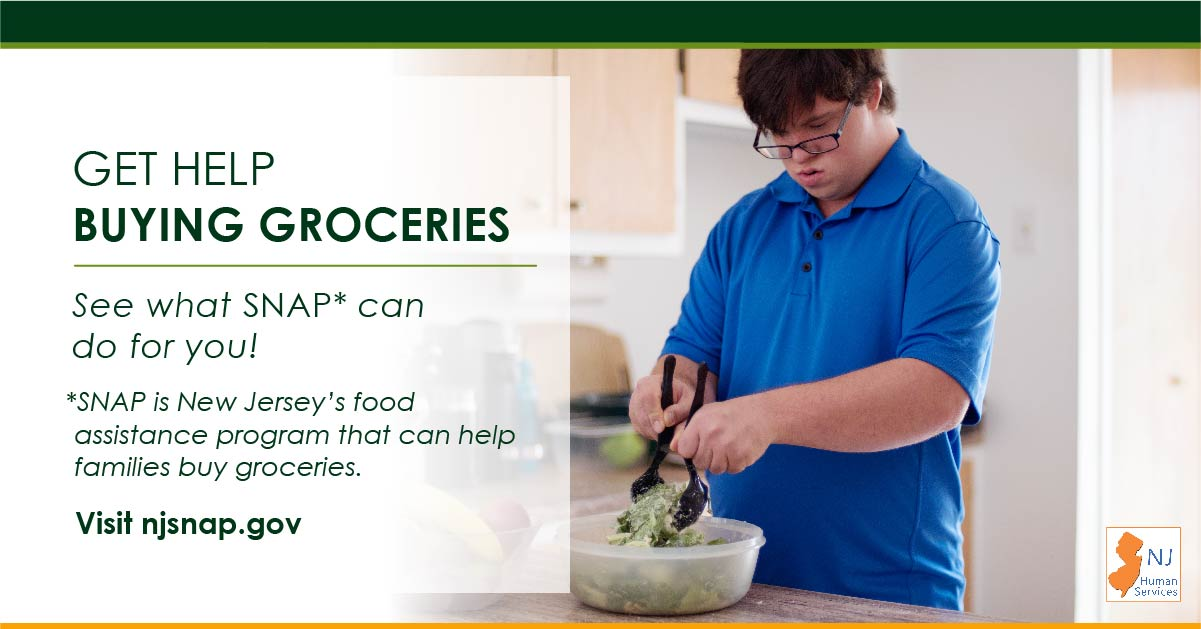 An individual with disabilities prepares a salad.