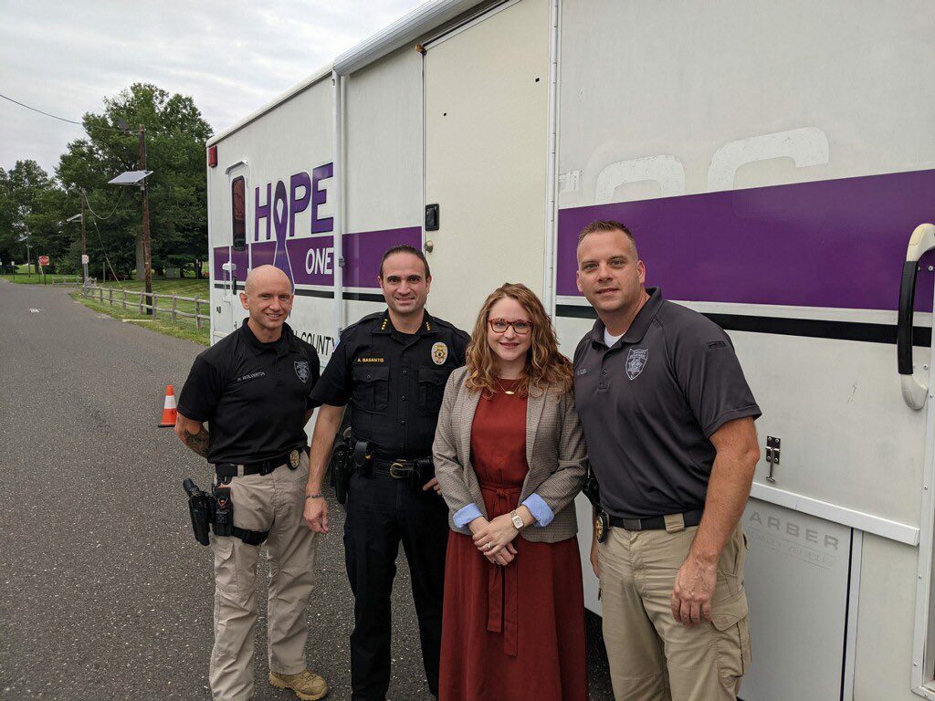 Acting Commissioner Adelman visited the Hope One mobile outreach vehicle with Burlington County Sheriff Anthony Basantis and Sheriff Officer Wayne Wolverton and Lt. Mike Ditzell.