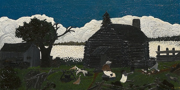 Textured oil painting of a blue sky with a bank of clouds, a field of white in the background, two cabins in the foreground, and a few people in the yard, behind a fence.