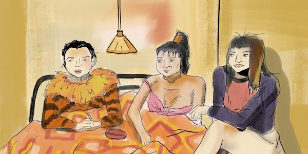 A drawing of three women together in a bed with an orange duvet cover