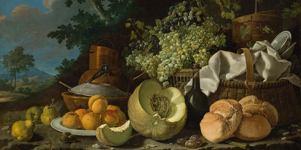 a still-life oil painting of a basket, bread, melon and assorted fruits
