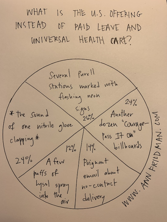 """Pie chart: What is the US offering instead of paid leave and universal health care? Several Purell stations marked with flashing neon, the sound of one nitrile glove clapping, another dozen """"Courage--Pass It On"""" billboards, a few puffs of Lysol spray into the air, poignant email about no-contact delivery"""