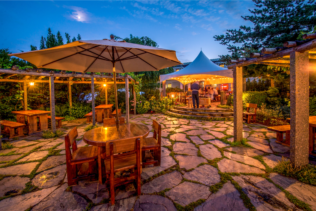One of Mark DeWolf's favourite valley dining spots is on the pergola at Le Caveau Restaurant where wines are served up with dishes featuring local ingredients. Contributed.