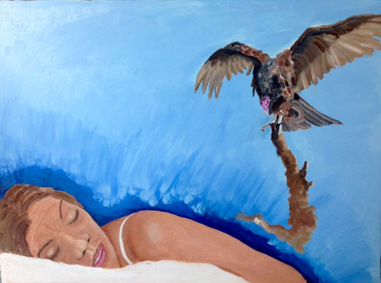 Painting of a woman sleeping while a vulture flies above her, clutching at a dark object