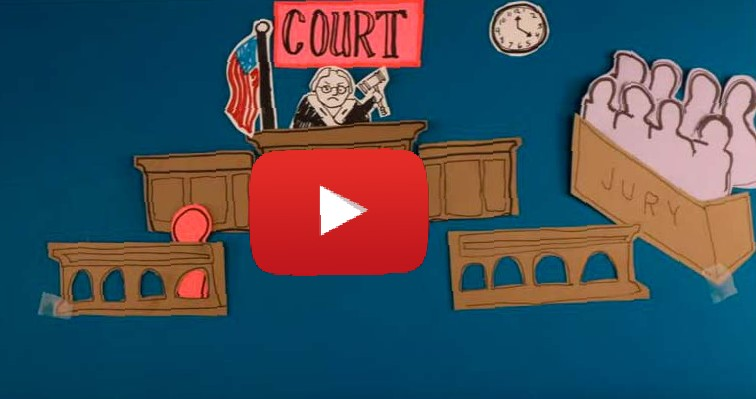 video frame showing a judge and jury with a red arrow to indicate that the image is a YouTube link