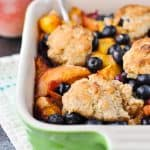 Image of healthy blueberry peach cobbler